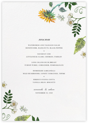 Dandelion Harvest (Menu) - Happy Menocal - Wedding menus and programs - available in paper