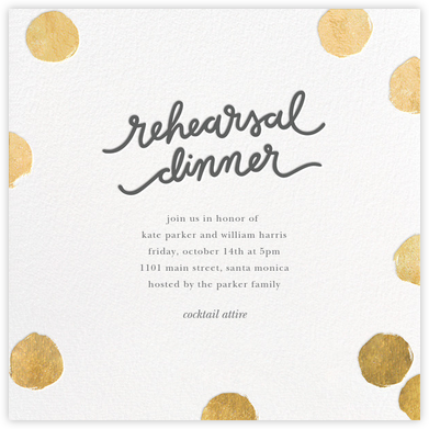 Big Dot Rehearsal - Gold - Sugar Paper - Wedding Weekend Invitations