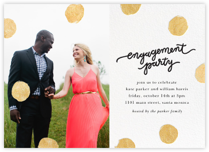 Big Dot Engagement (Photo) - Gold - Sugar Paper - Engagement party invitations