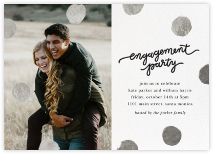 Big Dot Engagement (Photo) - Silver - Sugar Paper - Engagement party invitations