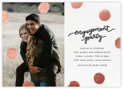 Big Dot Engagement (Photo) - Rose Gold - Sugar Paper - Engagement party invitations