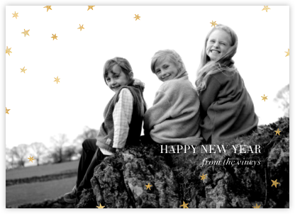 Nightly (Photo) - Navy/Gold - Paperless Post - New Year Cards