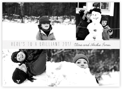 Four Photo Title Card - Ivory - Paperless Post - New Year cards