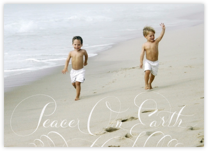 Peace on Earth Script (Photo) - White - Bernard Maisner - Bernard Maisner Invitations
