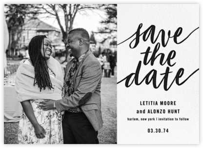 Evelina (Photo) - White/Black - Paperless Post - Modern save the dates