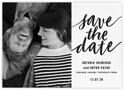 Evelina (Photo) - White/Black - Paperless Post - Save the dates