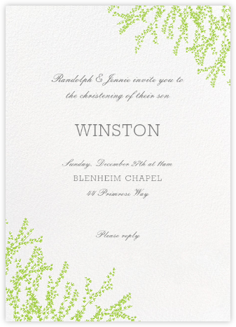 Forsythia (Invitation) - Leaf Green - Paperless Post - Christening Invitations