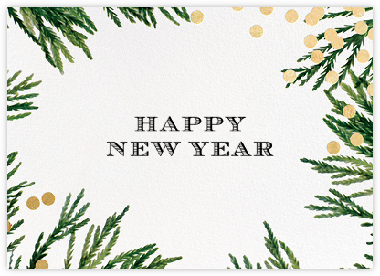 Confetti Branches (Greeting) - Gold - kate spade new york - New Year Cards