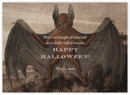 Bat (Horizontal) - John Derian - Halloween cards