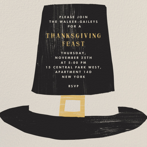Pilgrim Hat - Paperless Post - Thanksgiving invitations