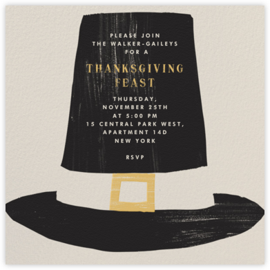 Pilgrim Hat - Paperless Post - Thanksgiving invitations
