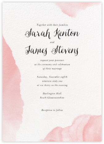 Aniline (Invitation) - White/Blossom - Paperless Post - Wedding Invitations