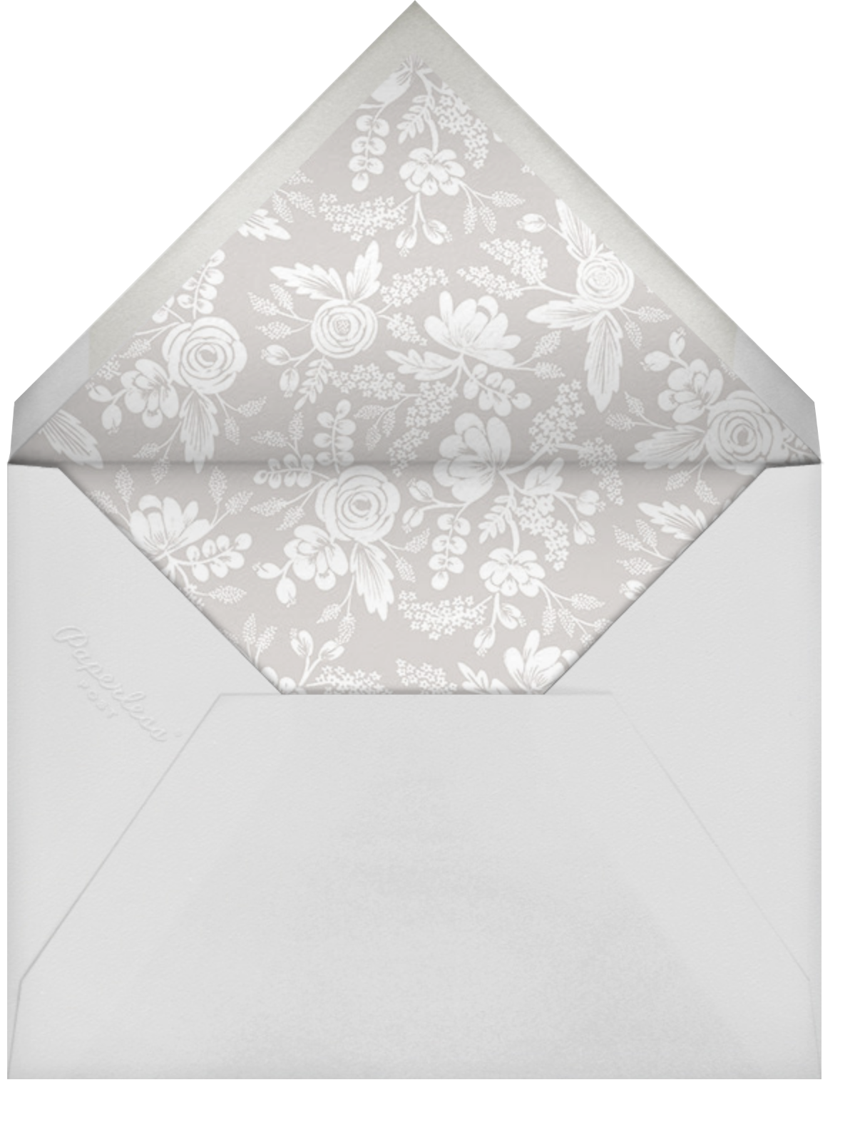 Heather and Lace (Tall Frame) - Silver/Merinuge - Rifle Paper Co. - Bridal shower - envelope back