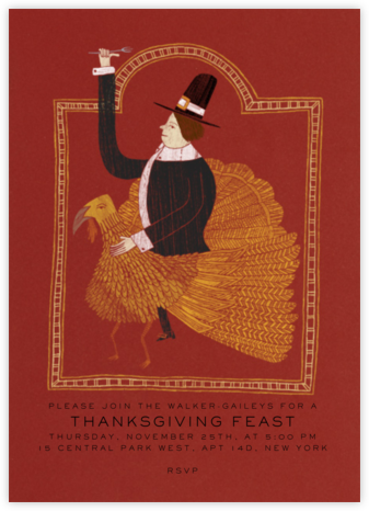 Pilgrim on a Turkey Invite - Paperless Post - Thanksgiving invitations