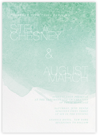 Chalcedony (Invitation) - Mint - Paperless Post - Modern wedding invitations