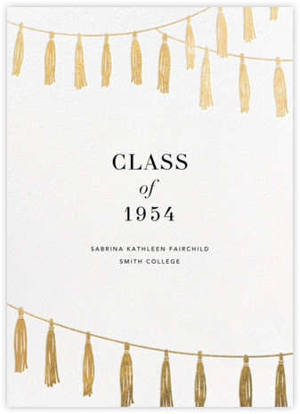 Tasseled II - Gold - Paperless Post - Graduation announcements