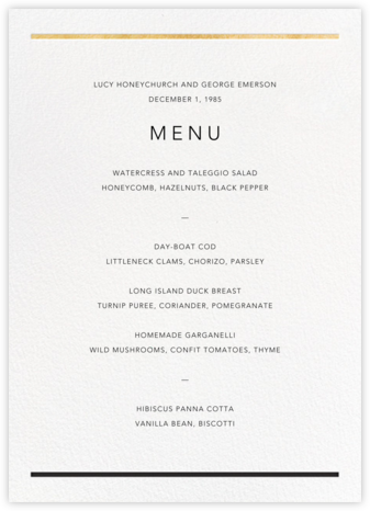 Aubette (Menu) - Gold - Paperless Post - Wedding menus and programs - available in paper