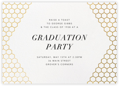 Honeycomb Party - Gold - Paperless Post - Invitations