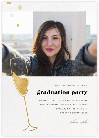 Champagne Bubbles (Photo) - Gold - Paperless Post - Celebration invitations