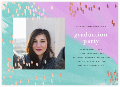 Dappled (Photo) - Lagoon/Rose Gold - Ashley G - Celebration invitations