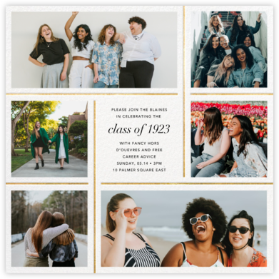 Whitework - Gold - Paperless Post - Virtual Graduation Party Invitations