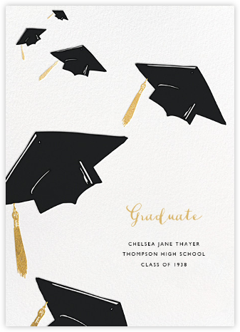 Downpour of Caps - Black - Paperless Post - Graduation Announcements