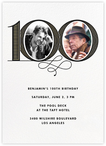 Pinstripe Numerals (One Hundred) - Paperless Post - Birthday invitations