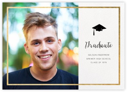 Idylle (Photo) - White/Gold - Paperless Post - Graduation announcements