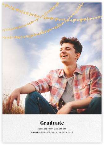 Streamer Shapes (Photo) - White/Gold - Paperless Post - Graduation announcements