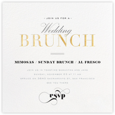 Brunch Soiree - Gold - bluepoolroad - Wedding Weekend Invitations
