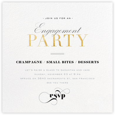 Engagement Soiree - Gold - bluepoolroad - bluepoolroad invitations and cards