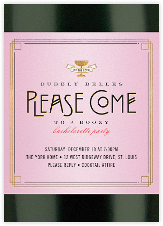 Ladies' Bottle Service - Cheree Berry - Bachelorette party invitations