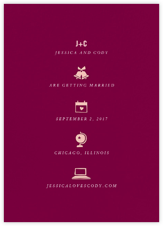 Symbols of Love - Merlot - Cheree Berry Paper & Design - Save the dates