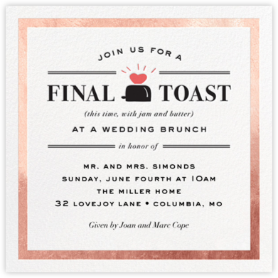 Toast of the Town - Rose Gold - Cheree Berry - Wedding Weekend Invitations