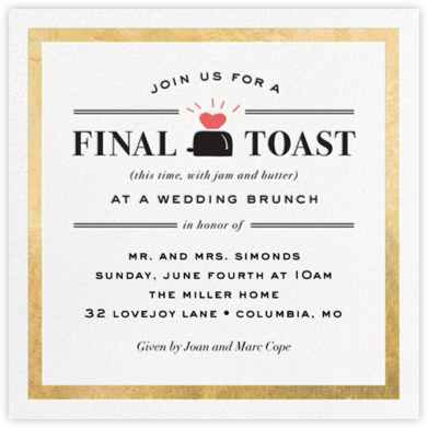 Toast of the Town - Gold - Cheree Berry - Wedding weekend