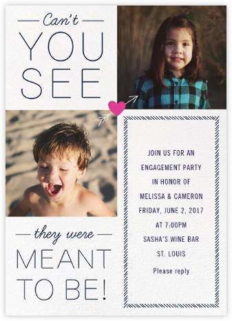 Meant to Be - Pink - Cheree Berry - Engagement party invitations