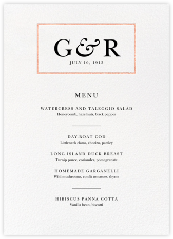 Placard (Menu) - Rose Gold - Paperless Post - Wedding menus and programs - available in paper
