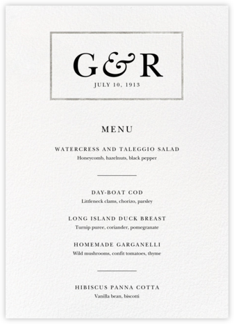 Placard (Menu) - Silver - Paperless Post - Wedding menus and programs - available in paper