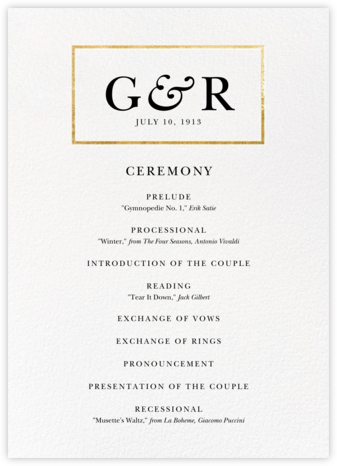 Placard (Program) - Gold - Paperless Post - Wedding menus and programs - available in paper