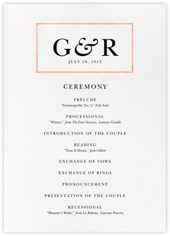 Placard (Program) - Rose Gold - Paperless Post -