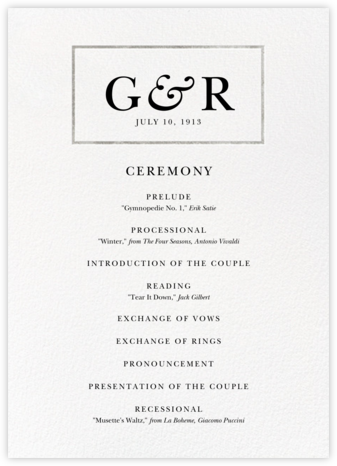 Placard (Program) - Silver - Paperless Post - Wedding menus and programs - available in paper
