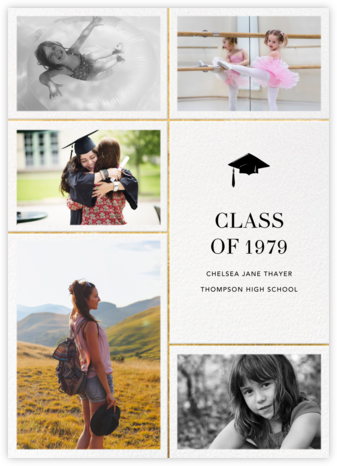 Quint - White/Gold - Paperless Post - Graduation Announcements