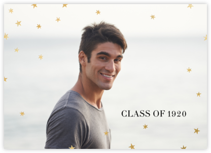 Nightly (Photo) - White/Gold - Paperless Post - Graduation Announcements