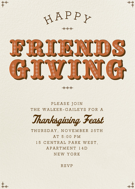 Happy Friendsgiving - Pumpkin - Paperless Post - Thanksgiving invitations