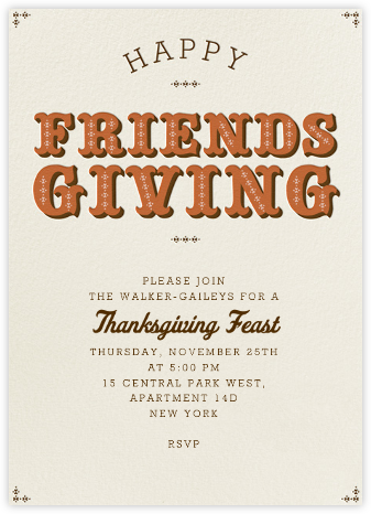 Happy Friendsgiving - Pumpkin - Paperless Post - Thanksgiving invitations