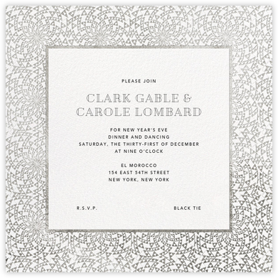 Deco Border (Square) - White - Paperless Post - New Year's Eve Invitations