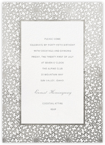 Deco Border - White - Paperless Post - Adult Birthday Invitations