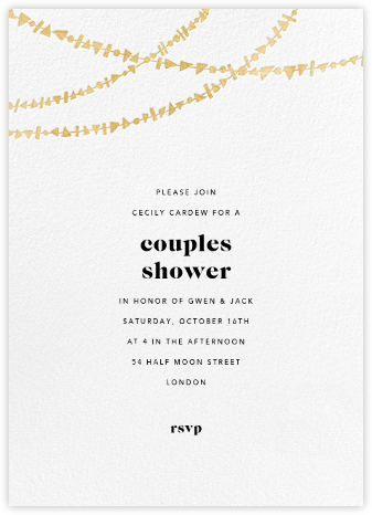 Streamer Shapes (Tall) - White/Gold - Paperless Post - Bridal shower invitations