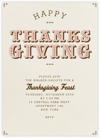 Happy Thanksgiving Type - Antique Pink - Paperless Post - Thanksgiving invitations