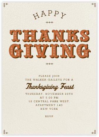Happy Thanksgiving Type - Pumpkin - Paperless Post - Thanksgiving invitations